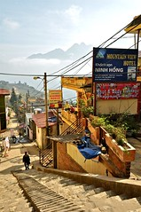 Sapa: Town in the Sky (AngelK32) Tags: travel mountain rural trekking french countryside town steps downhill vietnam sapa hmong laocai ethnicminority fansipan hoanglienson nikond90 mountainviewhotel 1685mmvr
