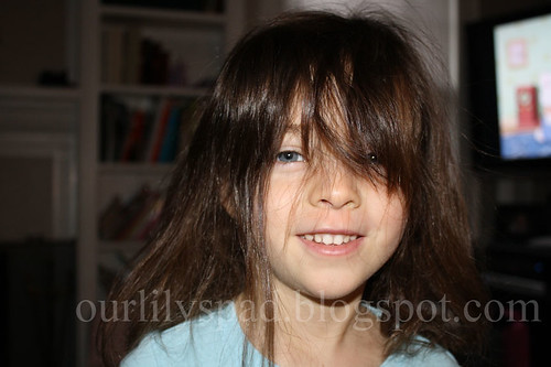 After 2 - she cut the bangs in herself