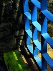 blue iron and shadows (msdonnalee) Tags: blue stone gate stair shadows turquoise stonework step ironwork bluegate bluemetal shadowsonthewall abigfave colorphotoaward photosbydonnacleveland heavymetalgate bluemetalgate blueirongate