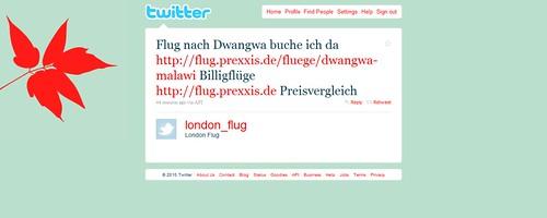 Twitter - London Flug- Flug nach Dwangwa