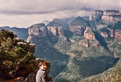 Drakensburg Mountains - Eastern Transvaal - 1994 - Wife at the Edge - Blyde River Canyon - The Three Rondavels (Gareth1953 All Right Now) Tags: portrait panorama mountains southafrica wife konicac35 blyderivercanyon dumplins thethreerondavels easterntransvaal