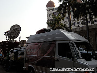 Lots of TV crew outside the Taj Hotel, camping for the next day
