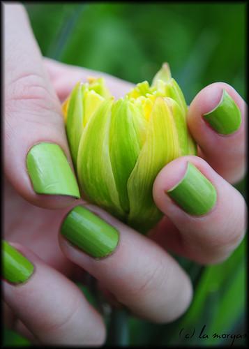 Yellow green nail designs