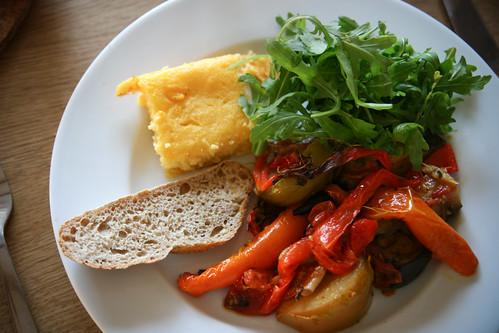 Roast veggies with polenta and toast