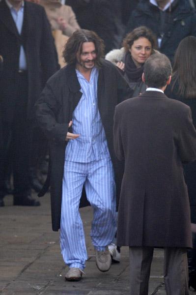 Johnny Depp wearing pajamas Venice