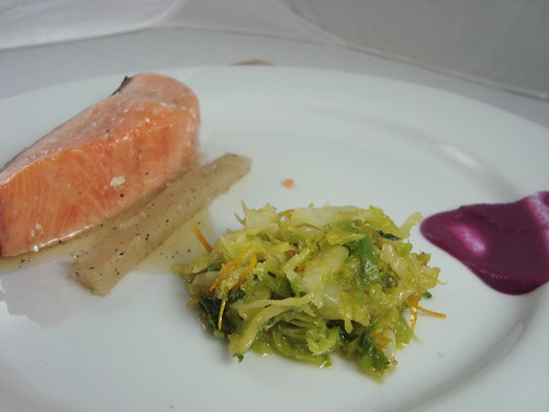 Colombian River King Salmon Confit, Spring Cabbage, Orange Skin and Juniper Berries @ LudoBites 4.0