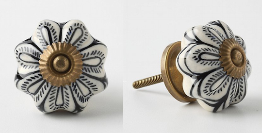 black+white+anthropologie+flower+knob