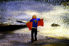 My Little Superhero (Suzanne Pyle Photography) Tags: boy wet rain children fly child brother son superman superhero cave hockinghills britton flickraward suzannemarie suzannepyle suzannepylephotography