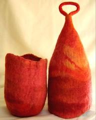 felt vessel (StudioShu) Tags: orange handmade felt handdyed sunsetcolours feltsculpture superfinemerinowool handfeltedvessel studioshu
