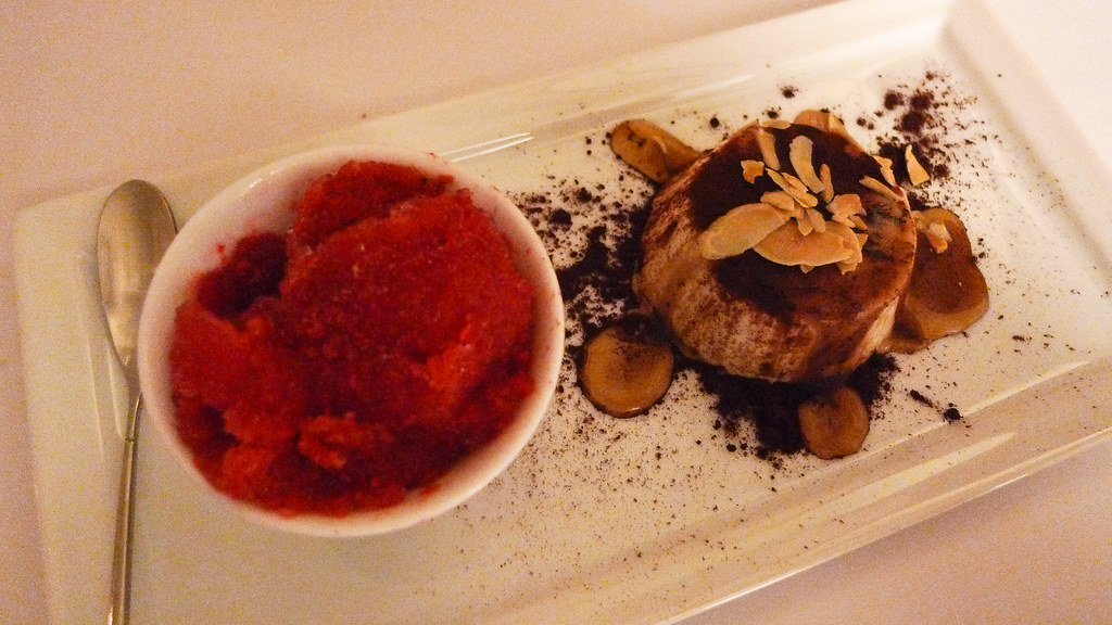Raspberry Sorbet + Almond Soufflé