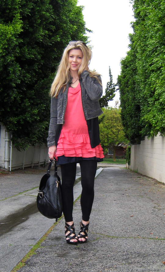 coral ruffle dress+1969 jacket+strappy wedges-5