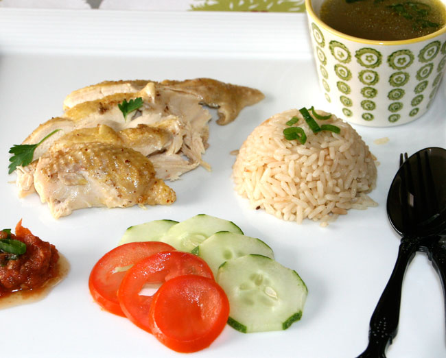 how to serve ayam hainan