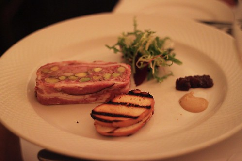 terrine du jour, toasted sour dough & pear chutney