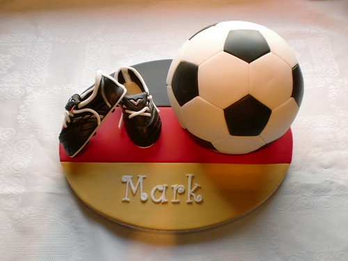 one of two football cakes