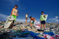 Band Of Brothers - Steung Meanchey Garbage Dump (Colour version) (Mio Cade) Tags: boy colour girl monochrome danger children kid garbage cambodia child brothers band dump plastic rubbish environment waste phnom scavenger penh steung meanchey