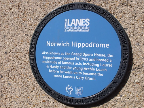 Discover Norwich blue plaque of the Norwich Hippodrome