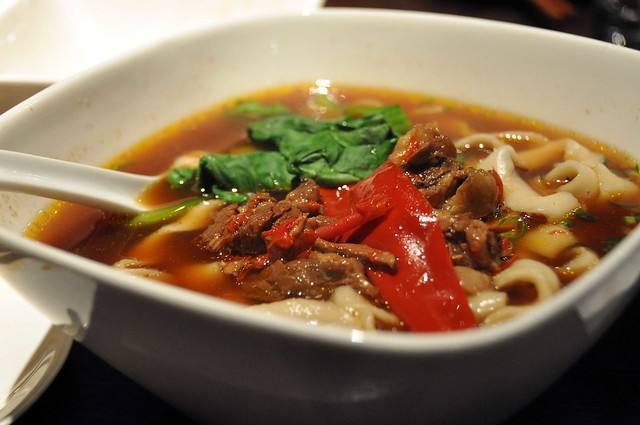 红烧牛肉刀削面 (Beef Noodle Soup with Knife-Cut Noodles)