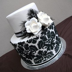 Paris (Deliciously Decadent (Taya)) Tags: flowers wedding roses white black cake beads crystals feathers jewels decadent damask deliciously