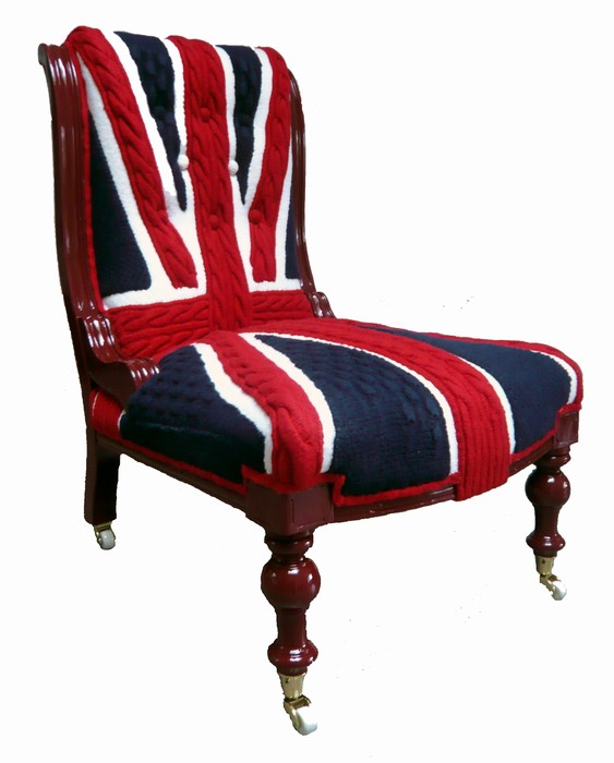 melanie porter union jack knitted chair cover