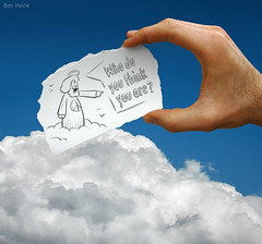 Pencil Vs Camera - 21 (Ben Heine) Tags: life sky cloud art love plane paper death idea fly sketch high tencommandments nikon humorous heaven hand god earth joke faith religion jesus humor existentialism belief happiness philosophy humour lord explore ciel illusion question terre bible series conceptual nuage bog frontpage slogan bless paradis dieu whoareyou peaceandlove blague humancondition voler theartistery digitalcameraclub whodoyouthinkyouare aurole benheine drawingvsphotography p