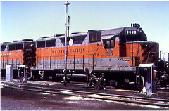 Western Pacific # 3009 at Stockton California in 1974.