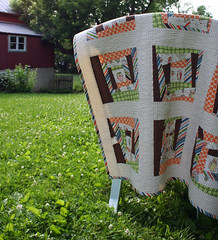 wonky owl quilt (olive_and_ollie) Tags: blue orange brown green modern design quilt handmade sewing stripes cream quilting dots patchwork wonky amybutler alexanderhenry oliveandollie rileyblake