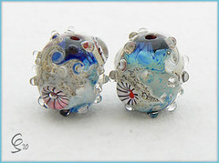 Fistral Rockpools - Lampwork Glass Bead Pair (Photography by Clare Scott) Tags: ocean sea glass scott clare lampwork sra rockpools fhfteam