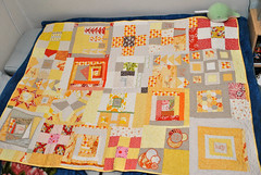 SewConnected Quilt (mochistudios) Tags: friends orange green bunnies sc yellow mushrooms thankyou quilt linen quilting embriodery patchwork quiltblocks embriodered quiltingbee quiltinggroup sewconnected