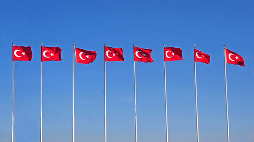 Line of turkish flags