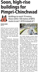 PCMC - Buildings to reach 70 metres (229 feet), those within 100 metres of BRTS routes to get 1.8 FSI instead of 1