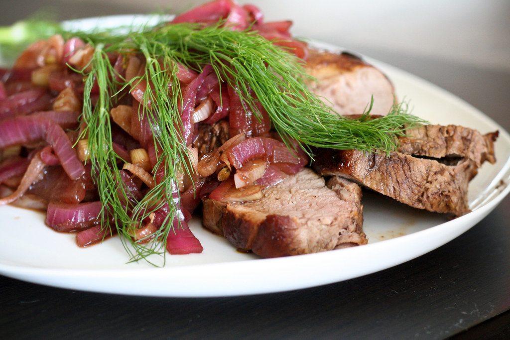 Pork Tenderloin with Agrodolce Fennel Saucev