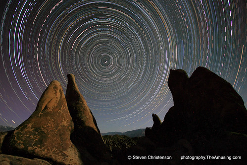An ultra long stacked exposure taken in Alabama Hills near Mount Whitney, Lone Pine, California