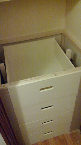 Painted drawers, and fascia