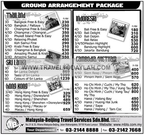 Ground Arrangement Packages to Thailand, Sri Lanka, Hong Kong, Indonesia, Cambodia and Vietnam