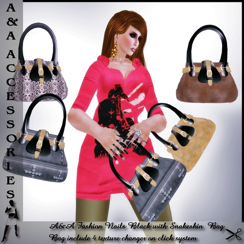 A&A Fashion Bag Snakeskin with Nails Black