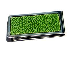 green stingray money clip (Karen Koenig) Tags: stainlesssteel stingray etsy brightgreen unearthed etsycom moneyclip silvermetal shagreen