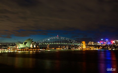 Sydney Harbour Bridge and The Opera House (Dale Allman) Tags: longexposure sky cloud water skyline night clouds skyscraper canon sydney australia newsouthwales operahouse sydneyharbourbridge 2470 canon5dmkii 5dmkii daleallman