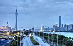 Guangzhou from Huanan Bridge (Sarmu) Tags: guangzhou china city bridge light sunset wallpaper urban building skyline architecture night skyscraper river lights twilight highresolution asia downtown cityscape view skyscrapers nightshot dusk widescreen landmark icon 1600 guangdong highdefinition resolution 1200 cbd hd bluehour wallpapers  iconic hdr canton guangdongprovince 1920 vantage 2010 vantagepoint  ws 1080 1050 720p 1080p urbanity   1680 720 2560 westtower  zhujiangriver  sarmu cantontower  zhujiangnewcity guangzhoutvtower   guangzhoutvsightseeingtower guangzhouinternationalfinancecenter guangzhouwesttower liedebridge  huananbridge