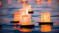 Souls set afloat... (Rex Maximilian) Tags: ocean sunset sea beach lights pacific shore lantern memorialday alamoanabeachpark