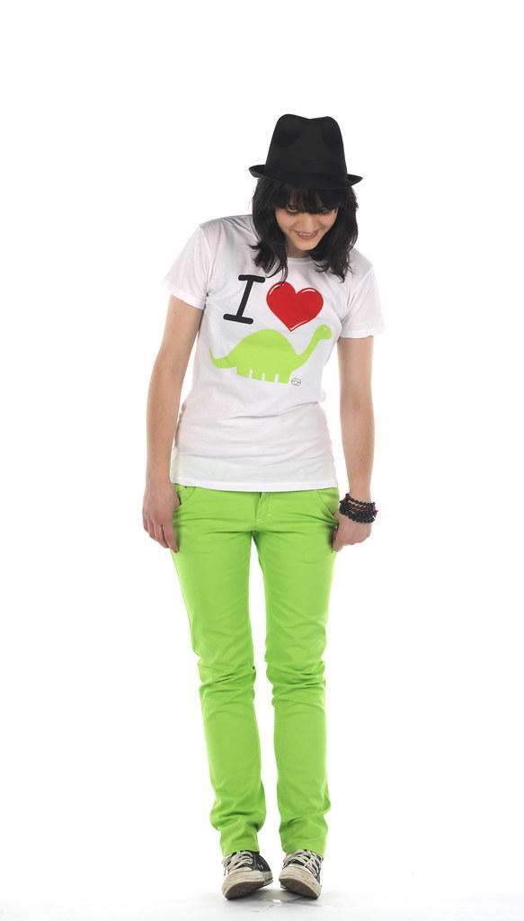 I Love Dino White Indie Scene Girls Skinny T shirt