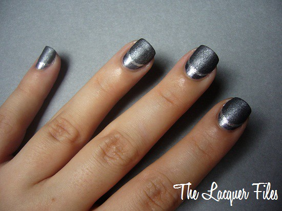 Nail Art Design Grey Ruffian Manicure China Glaze Awaken OPI Suzi Skies in the Pyrenees Suede Essence Nail Art Striper