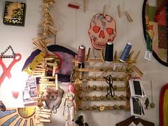 above the machine (Danny W. Mansmith) Tags: inspiration art thread skull memories manu clothespins bobbins dannymansmith sewingneedles cornflakegirldoll