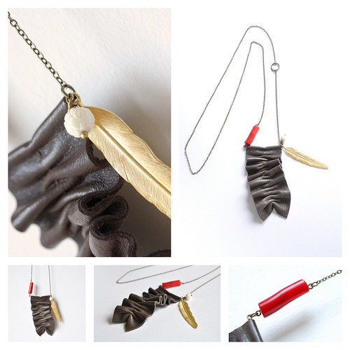 ruffled leather necklace