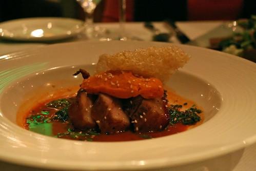 """pig, peas, and carrots""; lemongrass glazed pork belly, puffed pork cracklins, sesame pea tendrils, carrot mousse, carrot cardamom juice"