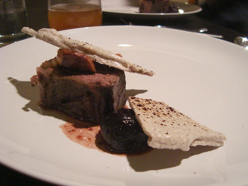 Short Rib, Black Truffle and Coffee Meringue, Chanterelle Jus and Bone Marrow Stuffed Prune