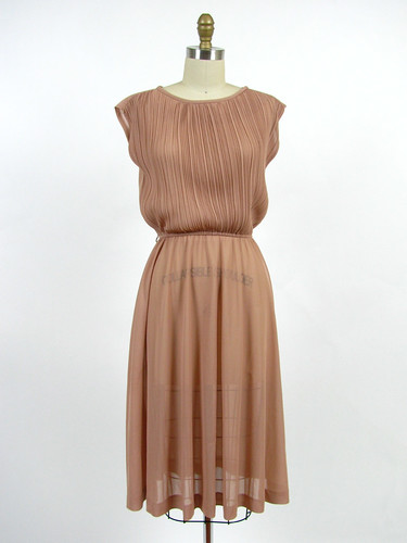 vintage 80s pleated nude sheer dress