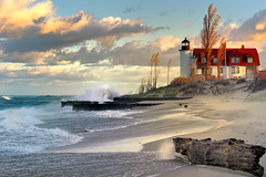 'Lighthouse Dawn'  Point Betsie Lighthouse, Lake Michigan, photo by Michigan Nut