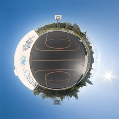 Basketball 360 - Little Planet Munich (daitoZen) Tags: panorama orange playing game color colour sports field basketball sport composite training ball court germany advertising munich mnchen outdoors deutschland bavaria photography licht team fotografie play view pentax outdoor background linie platz pano tag ad feld himmel competition 360 panoramic line fisheye commercial match munchen win copyspace activity curve werbung grad score sonne freizeit 360x180 spiel degree draussen hintergrund streetball hugin mannschaft  kugelpanorama spielfeld 1017mm littleplanet textfreiraum k20d seitenlinie sphrisch panomaxx onsalegi