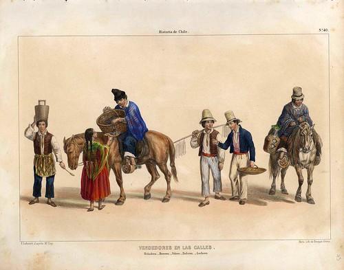 033-Vendedores callejeros-Atlas de la historia física y política de Chile-1854-Claudio Gay