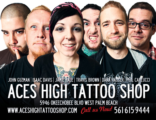 Just finished a quick promotional flyer for Aces High Tattoo Shop.